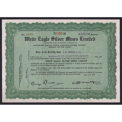 White Eagle Silver Mines Limited Stock Certificate