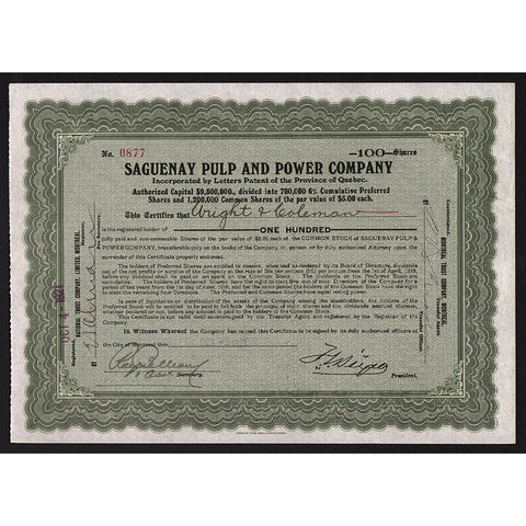 Saguenay Pulp and Power Company Stock Certificate