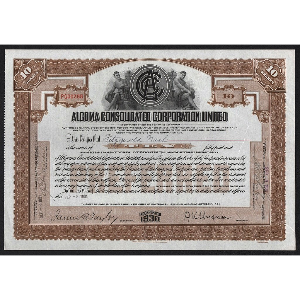 Algoma Consolidated Corporation Limited Canada Stock Certificate Railroad
