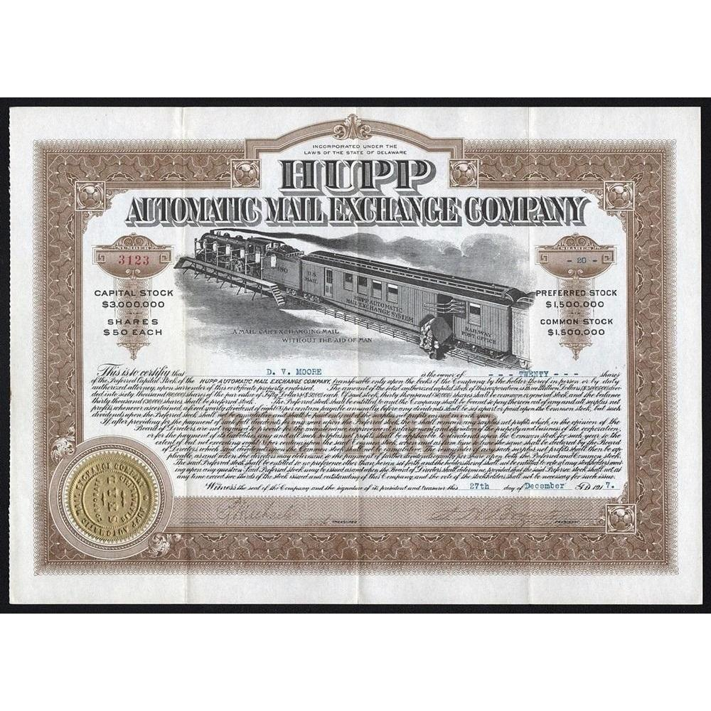 Hupp Automatic Mail Exchange Company Stock Certificate