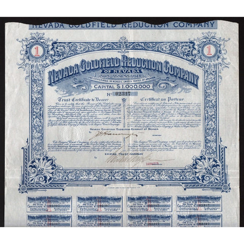Nevada Goldfield Reduction Company of Nevada Stock Bond Certificate