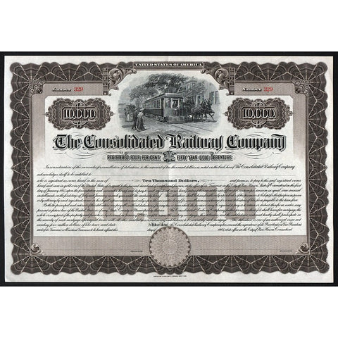 The Consolidated Railway Company Stock Bond Certificate