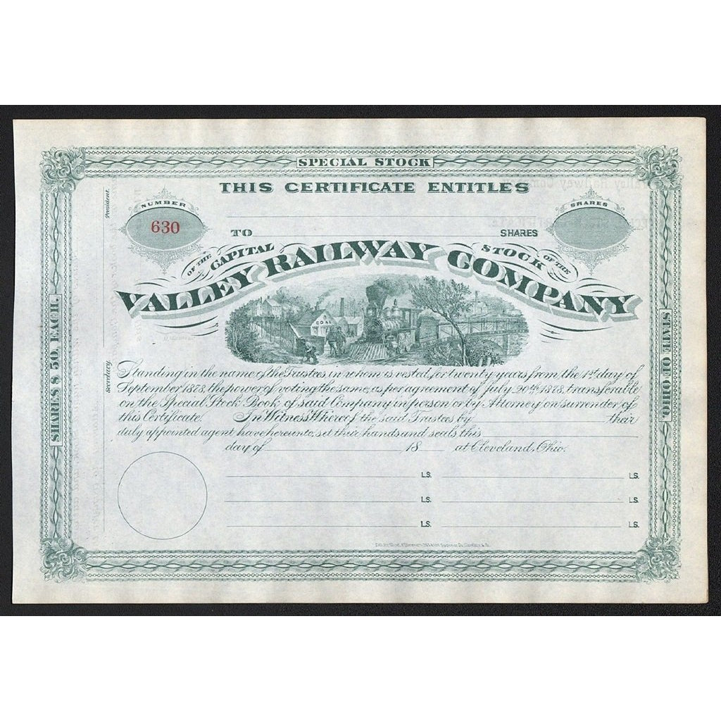 Valley Railway Company Ohio Stock Certificate