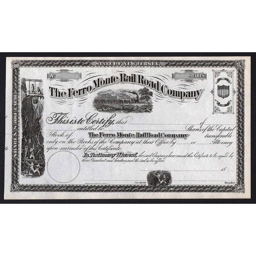 The Ferro Monte Rail Road Company New Jersey Stock Certificate Railroad