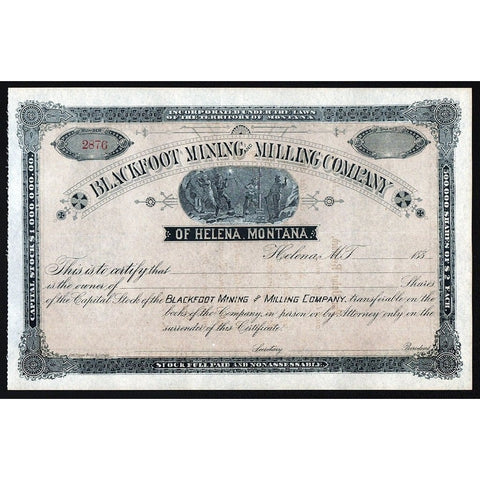 Blackfoot Mining and Milling Company of Helena, Montana Stock Certificate