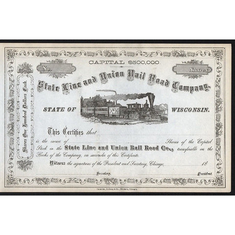 State Line and Union Rail Road Company Stock Certificate