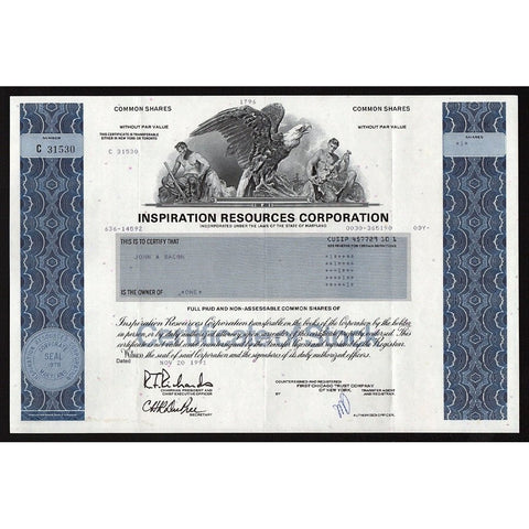 Inspiration Resources Corporation Stock Certificate