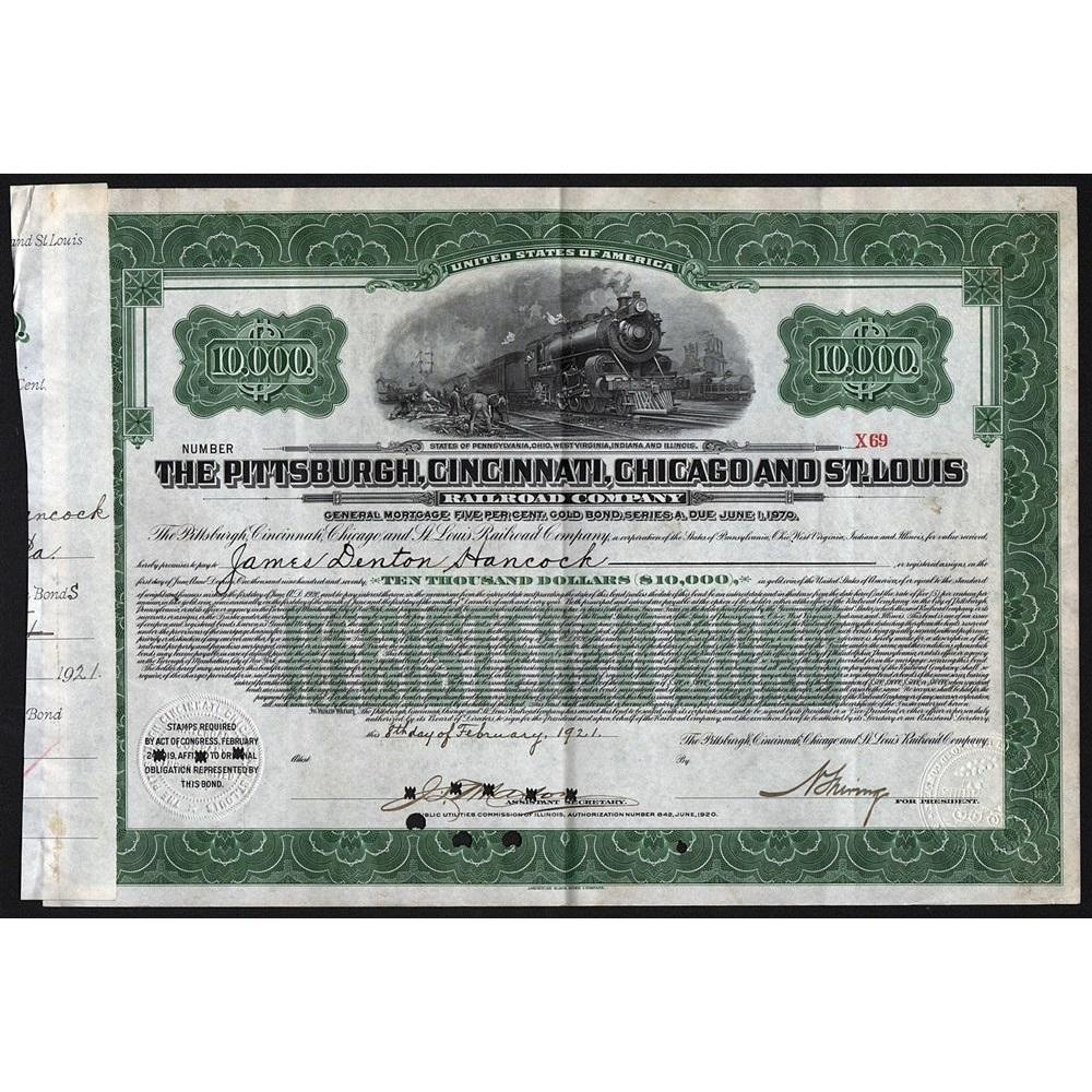 The Pittsburgh, Cincinnati, Chicago and St. Louis Railroad Company Stock Certificate