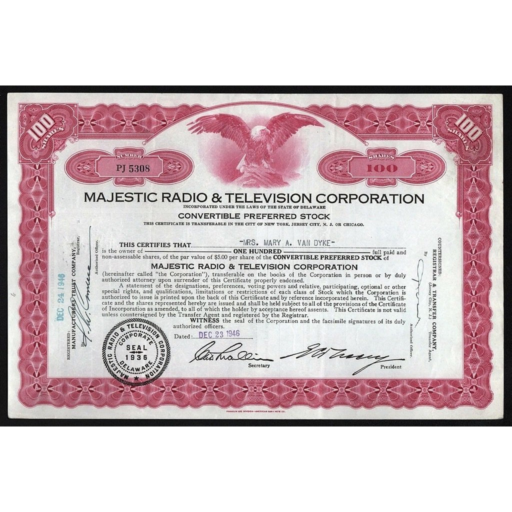 Majestic Radio & Television Corporation Stock Certificate