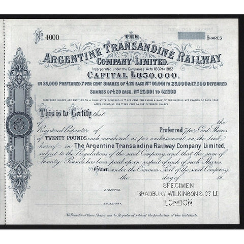 The Argentine Transandine Railway Company Limited Stock Certificate