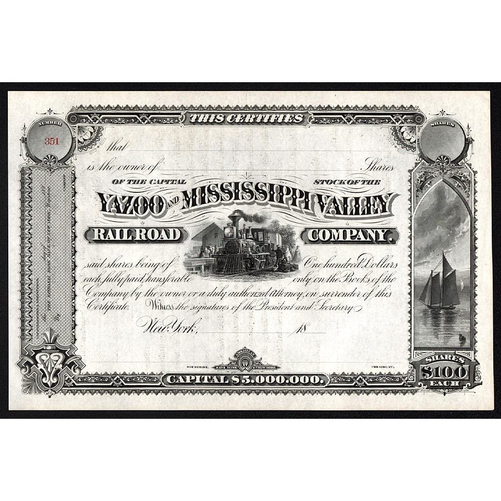 Yazoo and Mississippi Valley Railroad Company New York Stock Certificate