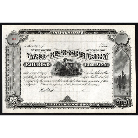Yazoo and Mississippi Valley Railroad Company Stock Certificate