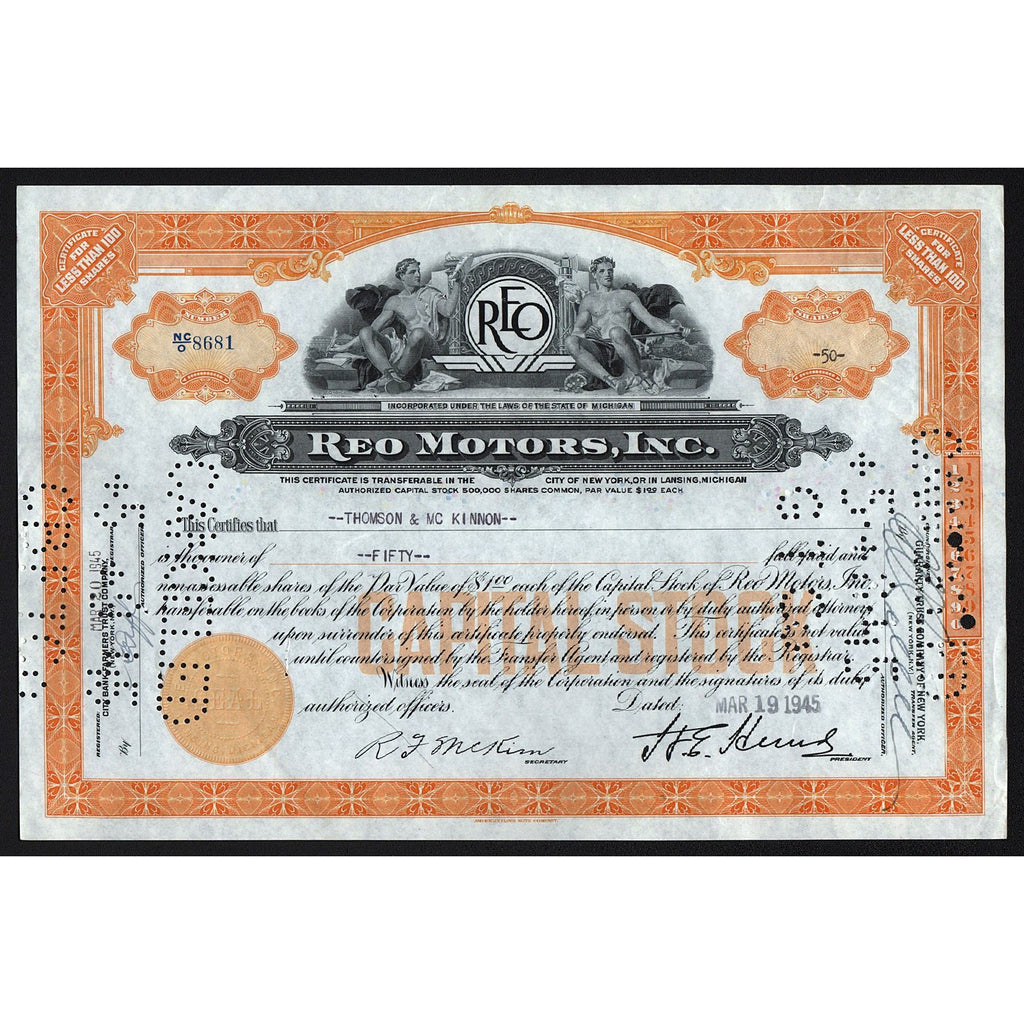 REO Motors, Inc. 1945 Michigan Stock Certificate