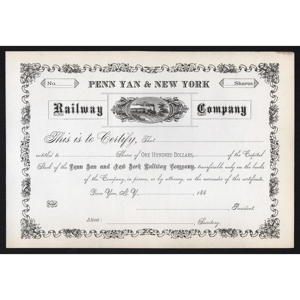 Penn Yan & New York Railway Company Stock Certificate
