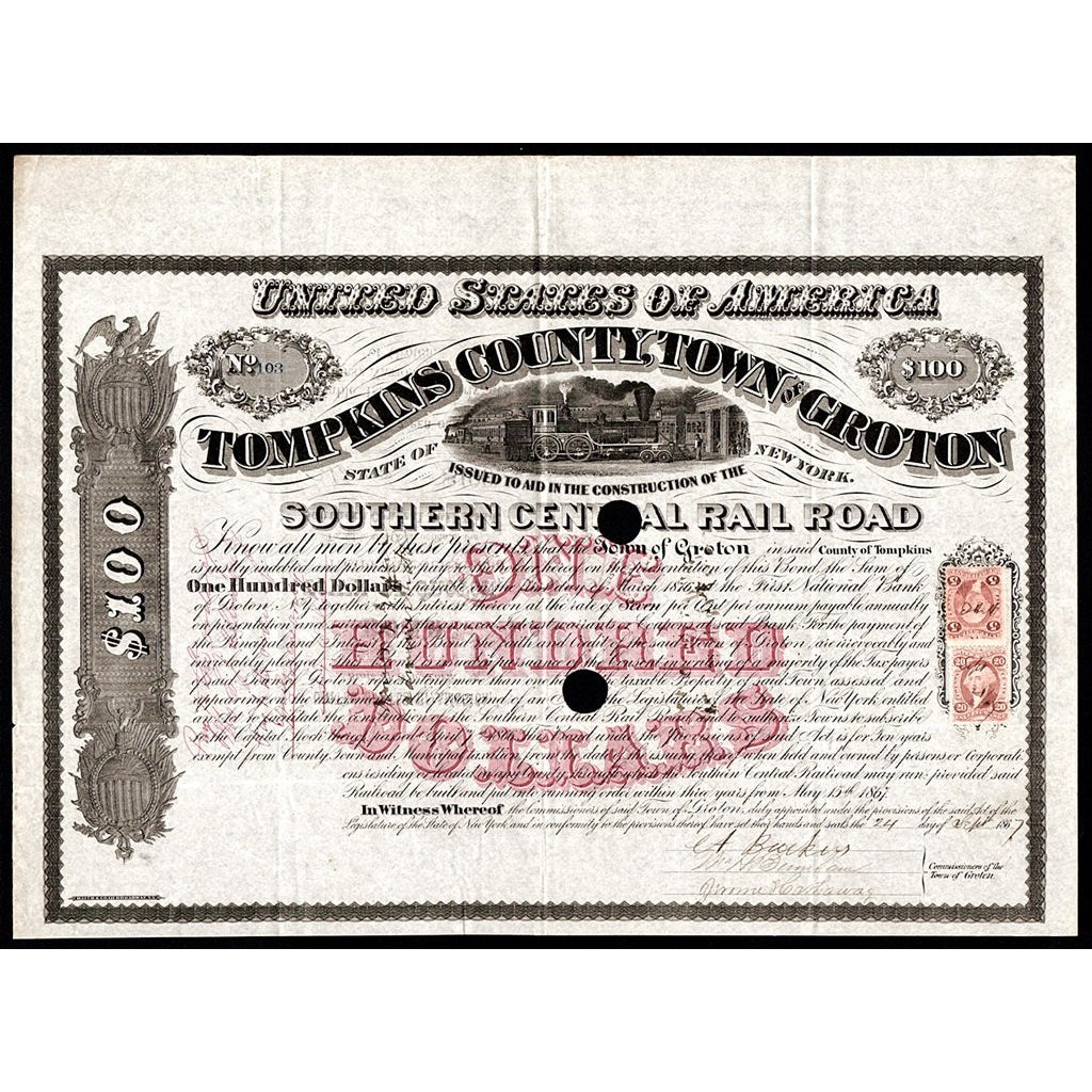 Tompkins County, Town of Groton - Southern Central Rail Road 1867 New York Bond Stock Certificate