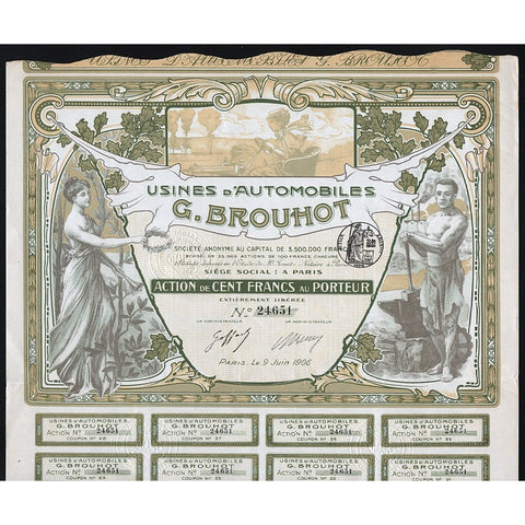 Usines d'Automobiles G. Brouhot Societe Anonyme Stock Certificate