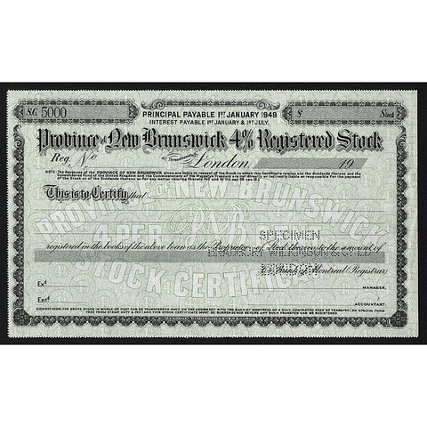 Province of New Brunswick (Specimen) Stock Bond Certificate
