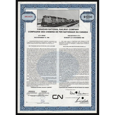 CN Rail - Canadian National Railway Company Stock Bond Certificate