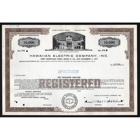 Hawaiian Electric Company, Inc. (Specimen) Stock Bond Certificate