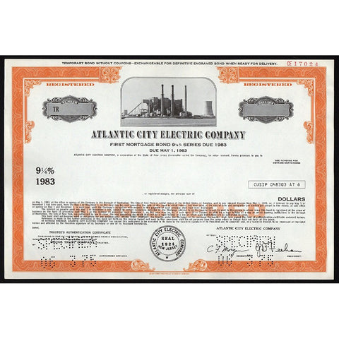 Atlantic City Electric Company (Specimen) Stock Bond Certificate