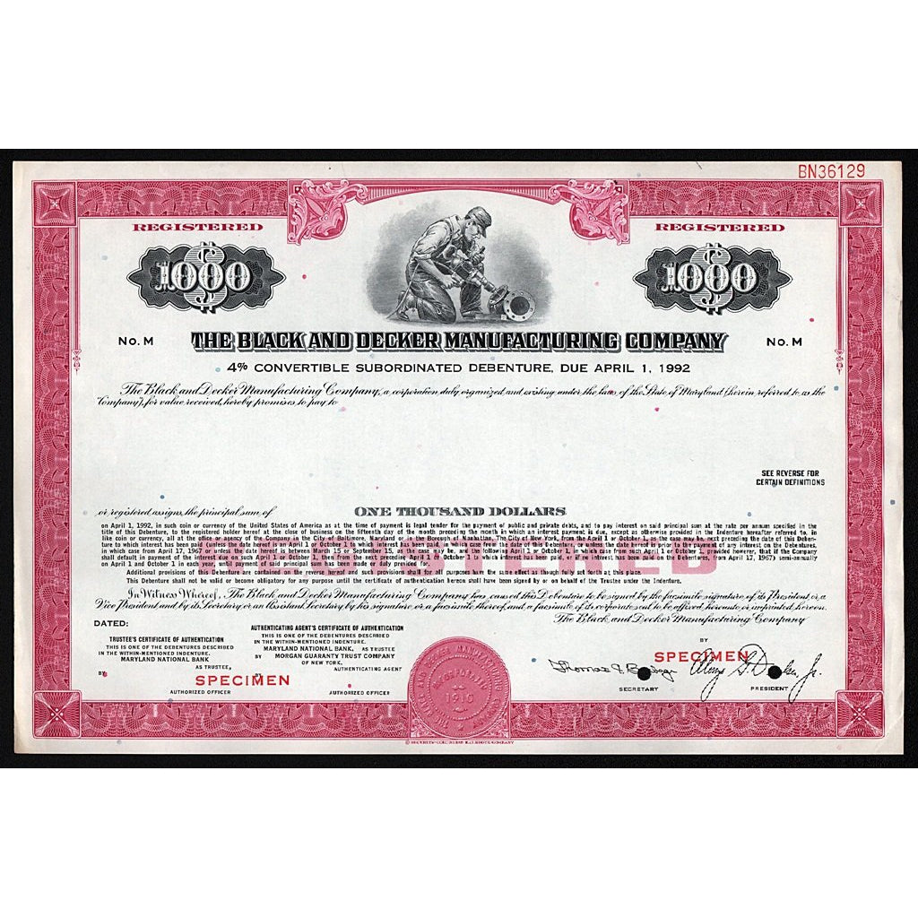 The Black and Decker Manufacturing Company (Specimen) Bond Certificate Stanley
