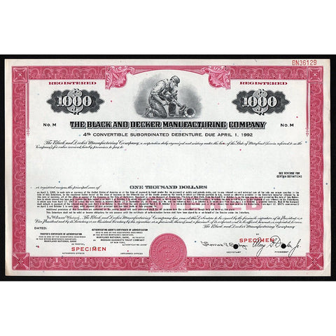 The Black and Decker Manufacturing Company (Specimen) Bond Certificate