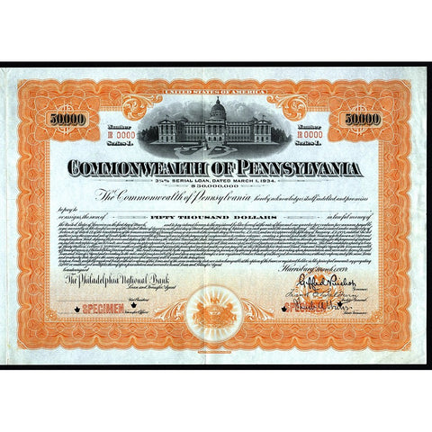 1934 Commonwealth of Pennsylvania (Specimen) Stock Bond Certificate