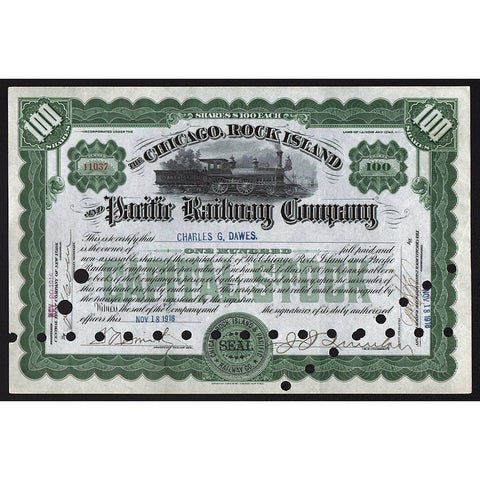 The Chicago, Rock Island and Pacific Railway Company Stock Certificate