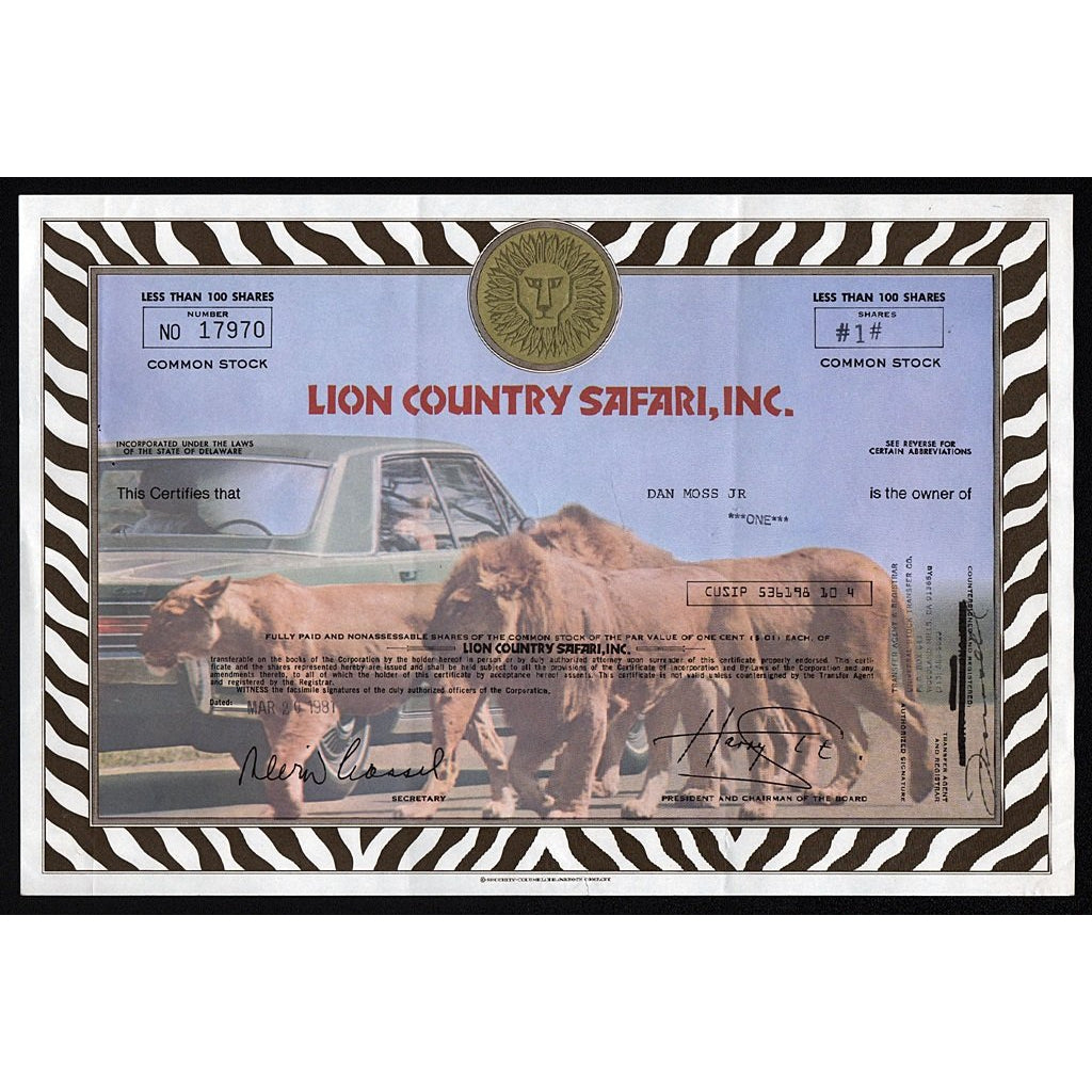Lion Country Safari, Inc. Stock Certificate