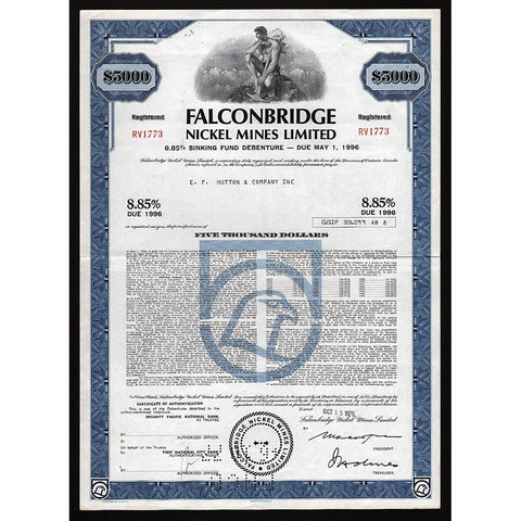 Falconbridge Nickel Mines Limited Stock Bond Certificate