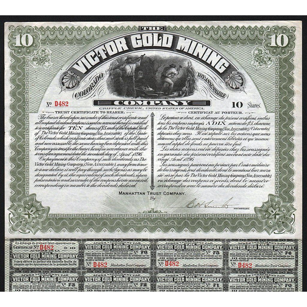 The Victor Gold Mining Company (Cripple Creek) 1898 Stock Certificate