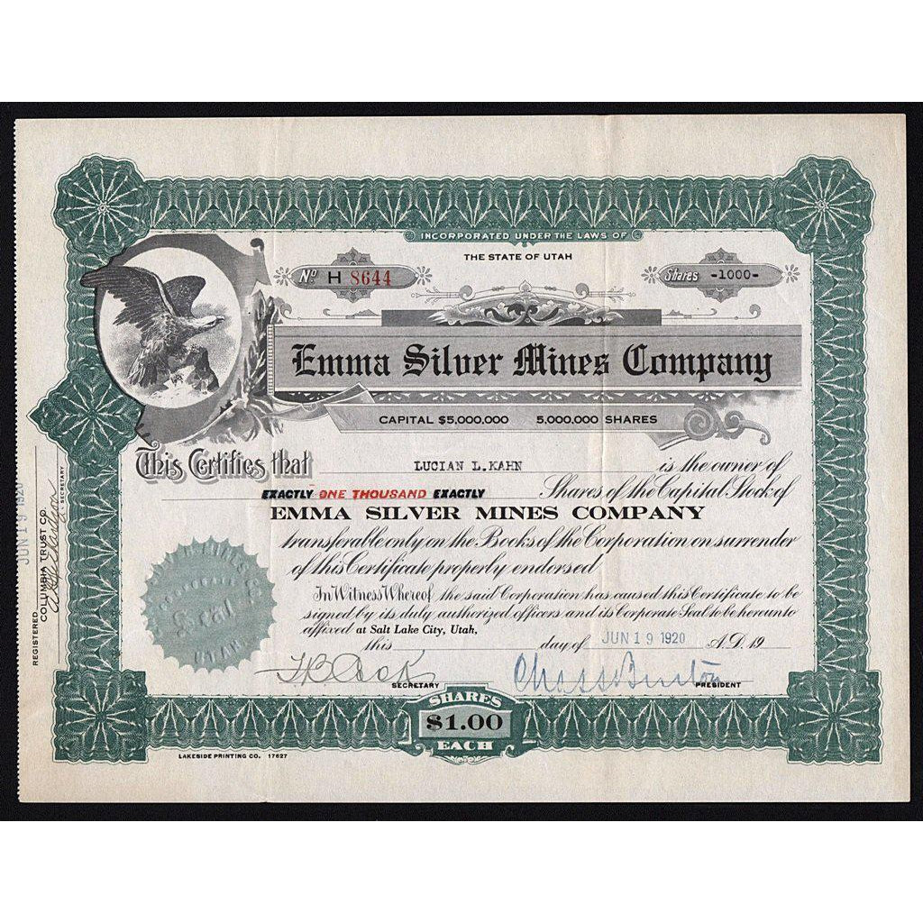 Emma Silver Mines Company (Utah) Stock Certificate