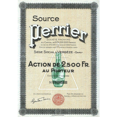 Source Perrier Societe Anonyme (Mineral Water) Stock Certificate