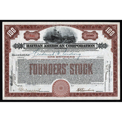 Haytian American Corporation (New York) 1921 Haiti Stock Certificate