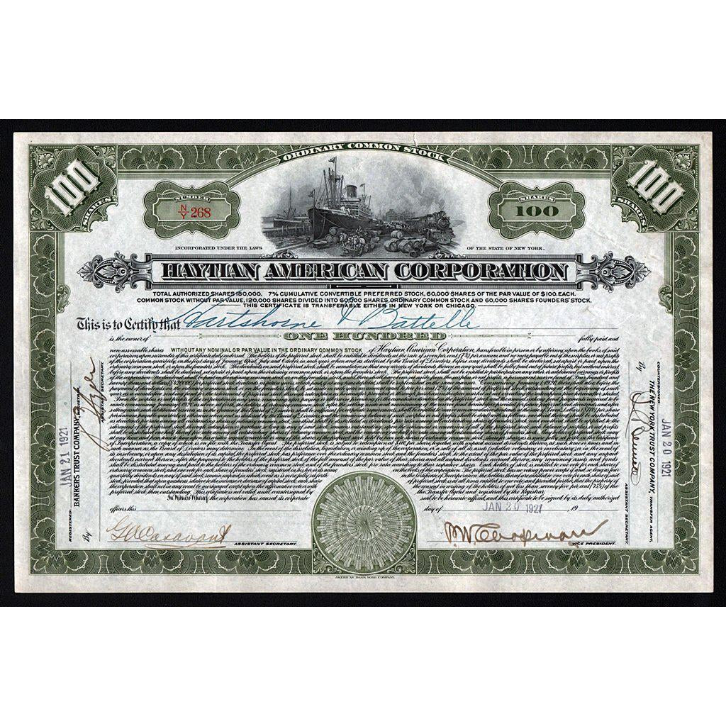 Haytian American Corporation (New York) 1927 Haiti Stock Certificate