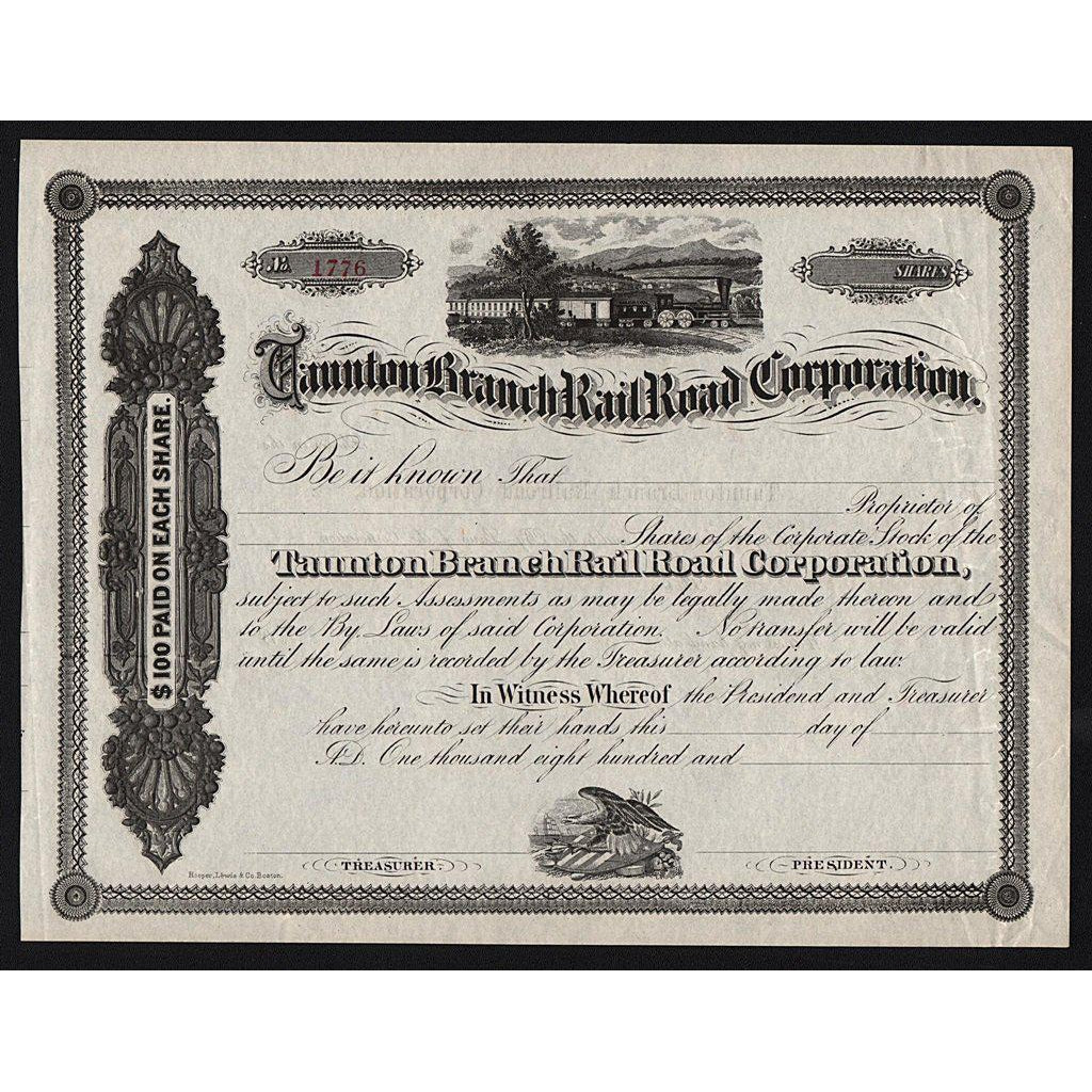 Taunton Branch Rail Road Corporation Stock Certificate
