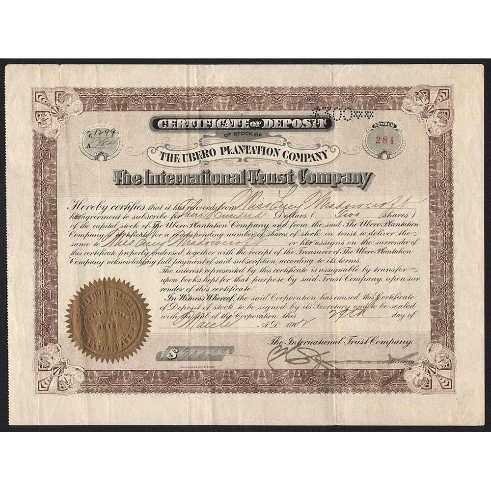 The Ubero Plantation Company, The International Trust Company Stock Certificate
