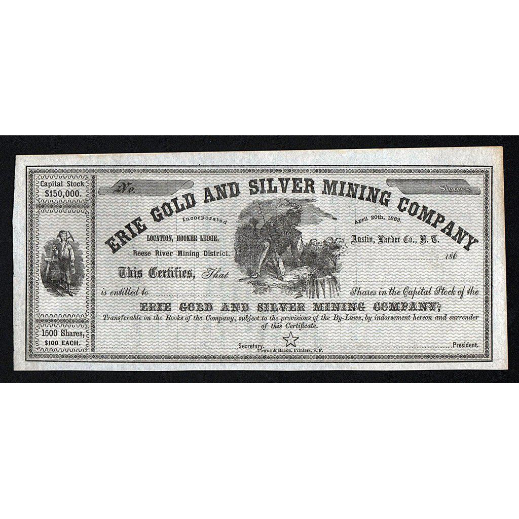 Erie Gold and Silver Mining Company Stock Certificate