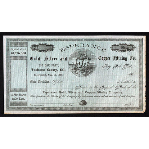 Esperance Gold, Silver and Copper Mining Company Stock Certificate