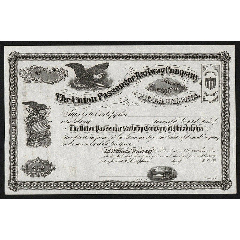 The Union Passenger Railway Company of Philadelphia Stock Certificate