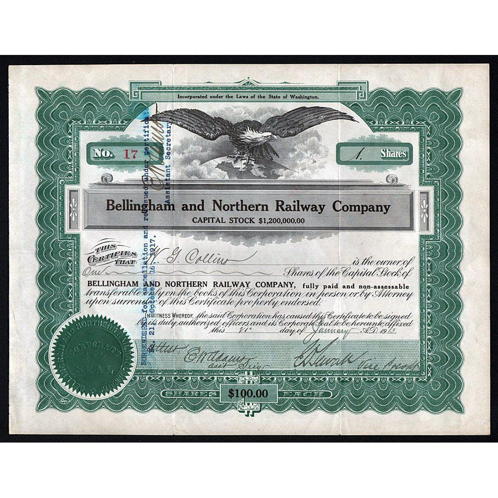 Bellingham and Northern Railway Company (Washington) Stock Certificate