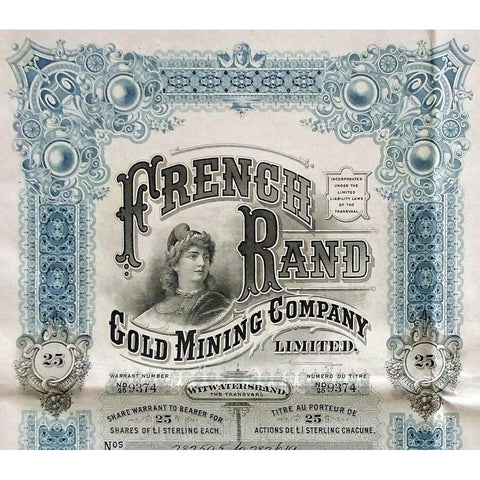 French Rand Gold Mining Company Stock Certificate