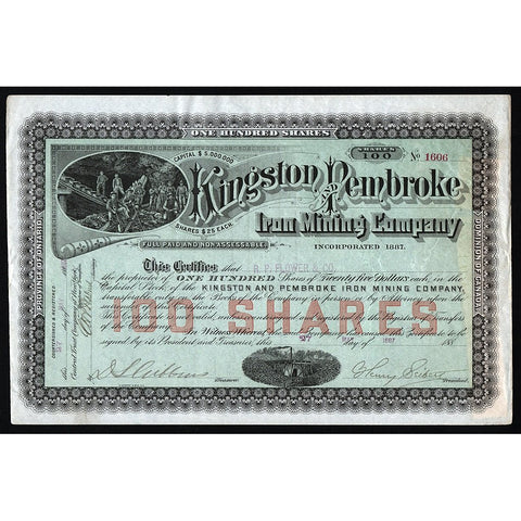 Kingston and Pembroke Iron Mining Company Canada Stock Certificate