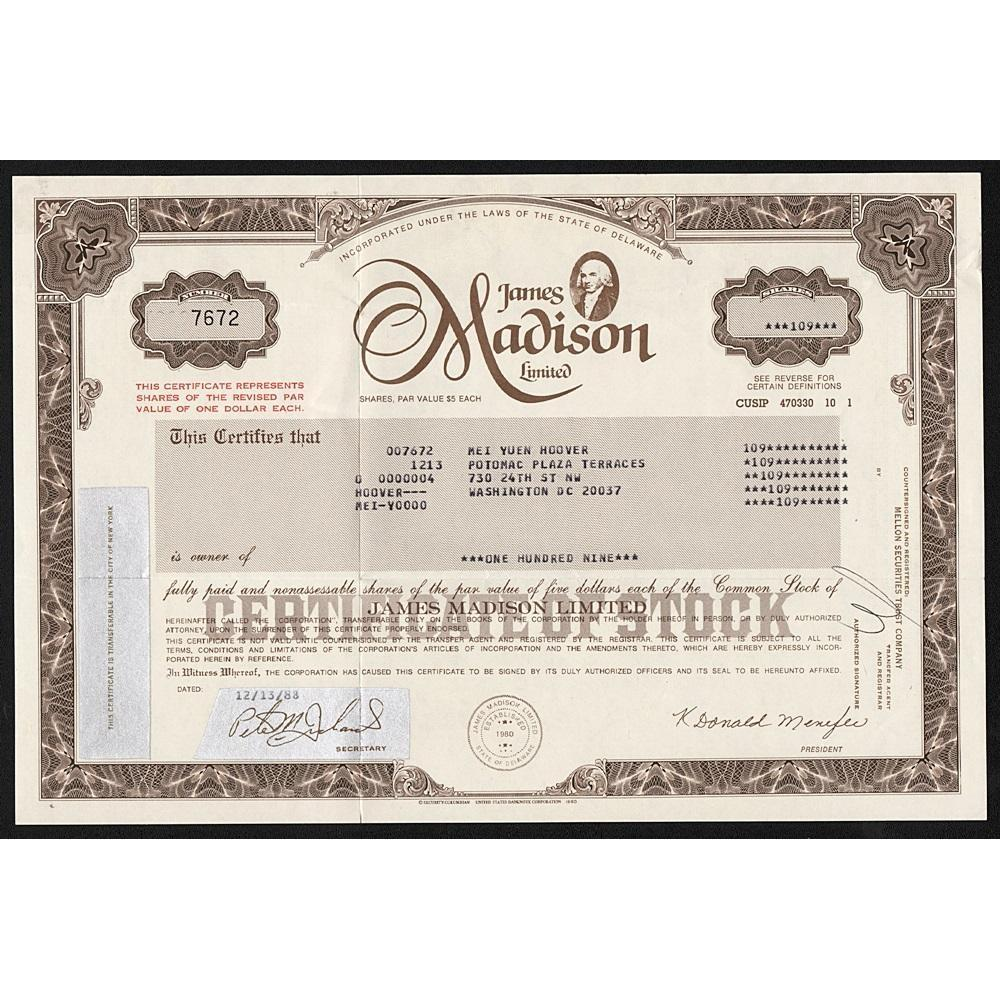 James Madison Limited Stock Certificate