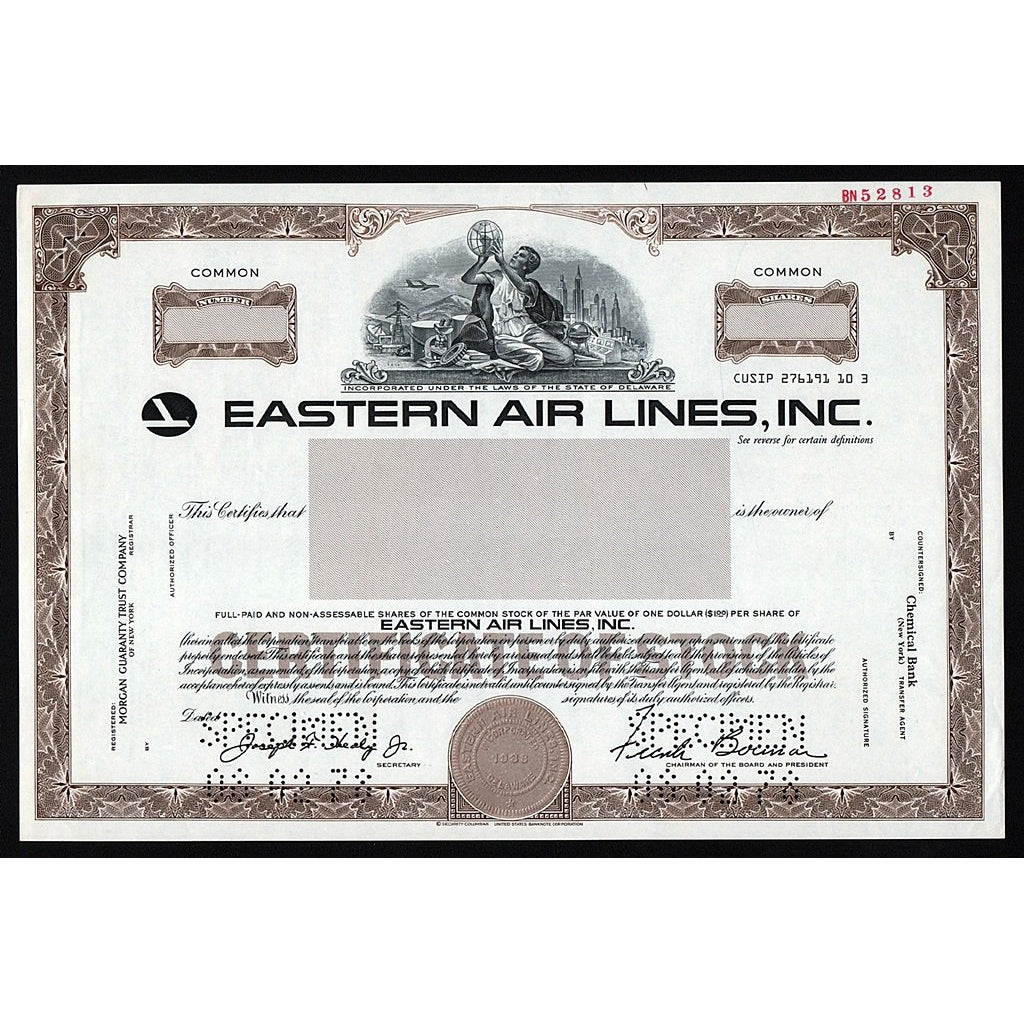Eastern Air Lines, Inc. (Specimen) Stock Certificate