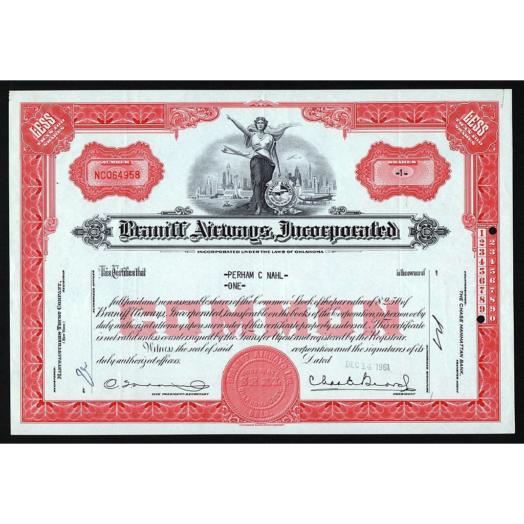 Braniff Airways, Incorporated Stock Certificate