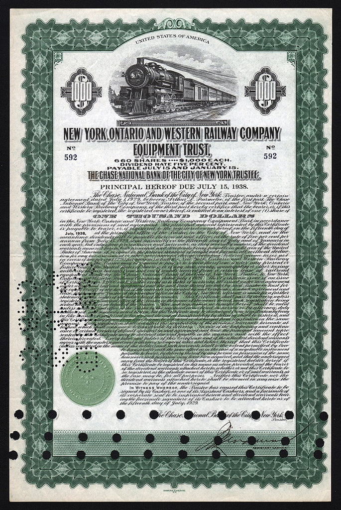 New York, Ontario and Western Railway Company 1929 Bond Certificate