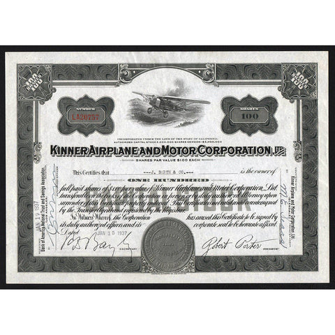 Kinner Airplane and Motor Corporation, Ltd. Stock Certificate
