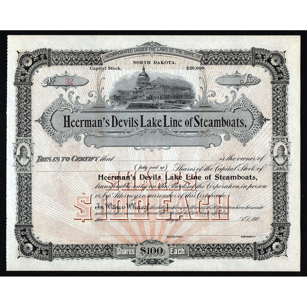 Heerman's Devils Lake Line of Steamboats Stock Certificate