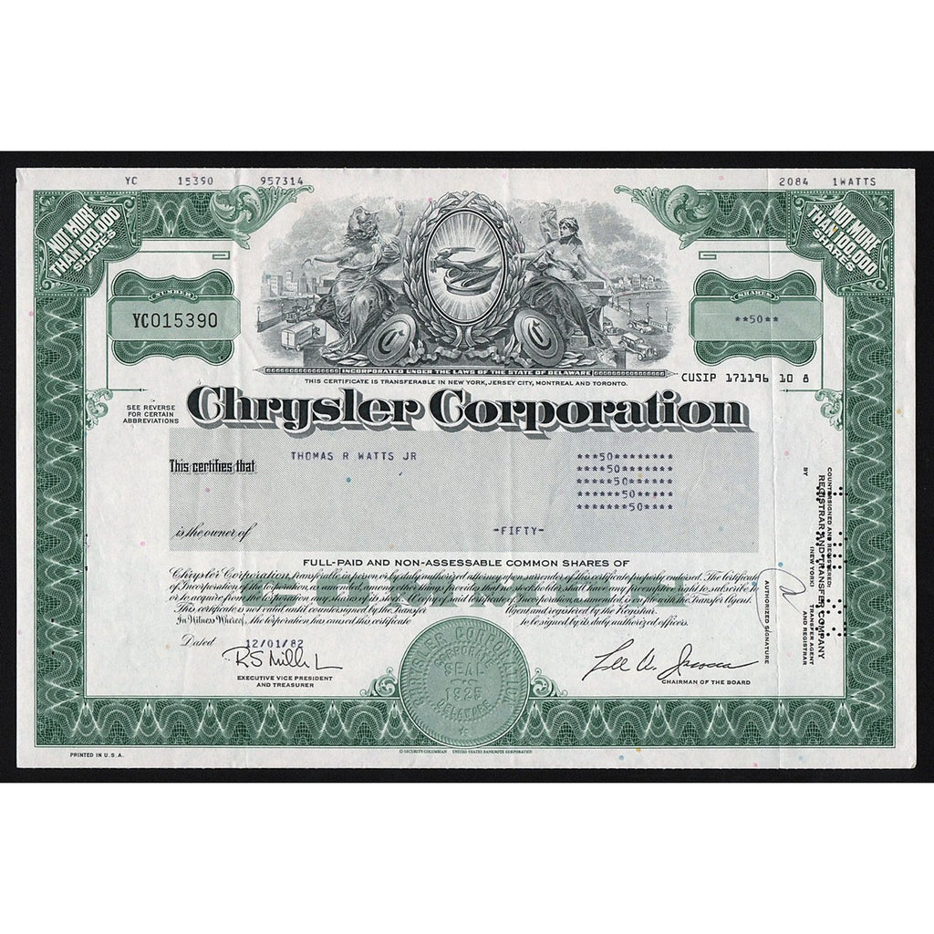 Chrysler Corporation Stock Certificate